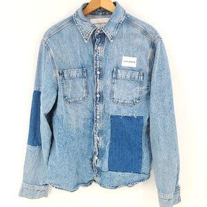 Calvin Klein Denim Patchwork Utility Shirt